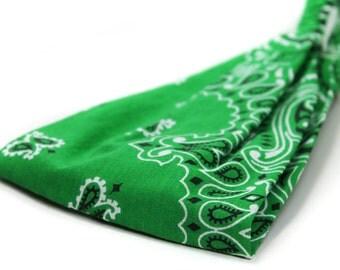 Men's Headband Green Headband Yoga Headband Wide Headband Head Wrap Green Headwrap Hair Band Green Bandana Headband (#4007) S M RS