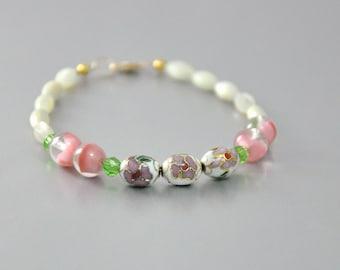 Dainty Bracelet Pink Cloisonne Vintage Art Glass and Pearls