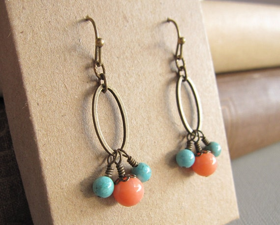 Bohemian Pink Coral Blue Turquoise Earrings Oval Ring Dangle