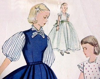 Simplicity 3801 Vintage 1950's Girl's Party Dress Pattern W/Variations