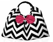 Black & White Chevron Handbag with Pink Leather Bow and Bamboo Handles