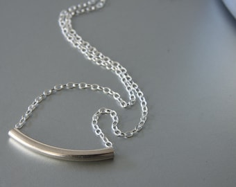 Silver Tube Necklace, Sterling Silver Tube, Tube Necklace, Everyday Jewelry, Dainty Necklace