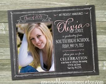 Chalkboard Graduation Announcement, Custom Photo Graduation Invitation, Printable File