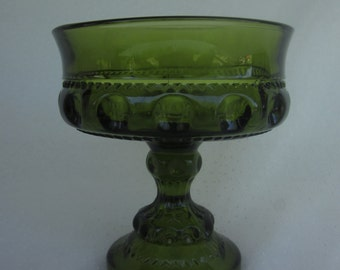 Vintage Green Kings Crown Candy Dish by Tiffin Glass