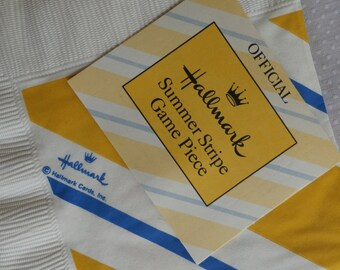 Vintage Hallmark Summer Stripe Gold and Blue Napkins and Game Piece