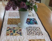 Quilted Table Topper with Sewing Prints