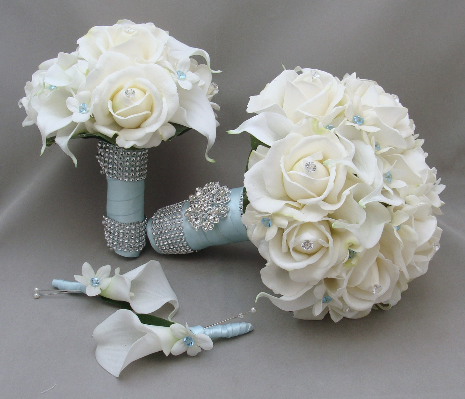 items similar to blue wedding flower package bridal bouquet stephanotis real touch roses calla. Black Bedroom Furniture Sets. Home Design Ideas