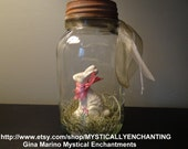 Easter Bunny Glass Mason Jar with faux white chocolate Easter Bunny