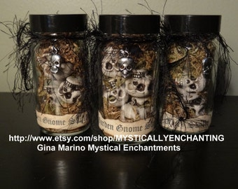 Mini Jar of Garden GNOME Skulls
