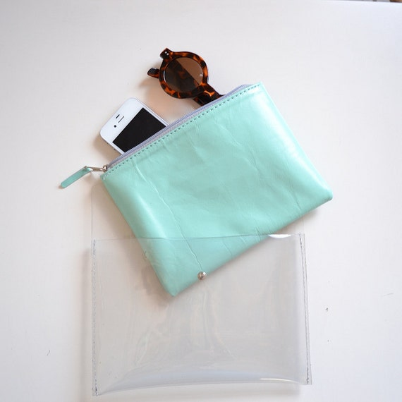 Transparent plastic Sarah clutch with a leather pouch inside (Handmade to order)
