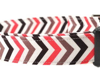 The Chevron in Coral - Dog Collar