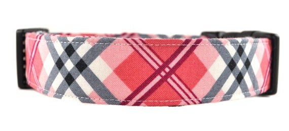 Pink and Gray Plaid Dog Collar - The Preppy Plaid