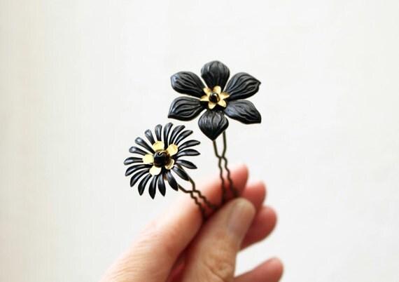 Epingles fleurs noires dorées floral noir doré épingles à chignon épingles à cheveux coiffure fête