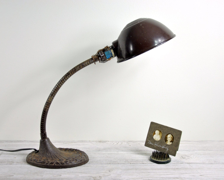 Vintage Industrial Desk Lamp / Industrial Decor / Gooseneck