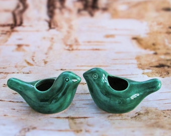 Two Ceramic Birdies candle holders emerald green / air plant planter Table Setting Holiday Christmas woodland Decor modern fresh home