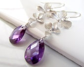 Dark Amethyst Cubic Zirconia and Silver Orchid Dangle Earrings, Sterling Silver Handmade Bridesmaid Jewelry