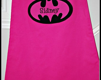 Custom Made Embroidered and Personalized Pink Batman SuperHero Cape - Babies and Toddlers