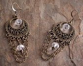 Foreteller Earrings - V. II - Antiqued Brass Filigree Hoops with Faceted Glass Beads