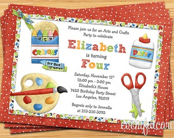Arts and Crafts Birthday Party Invitation