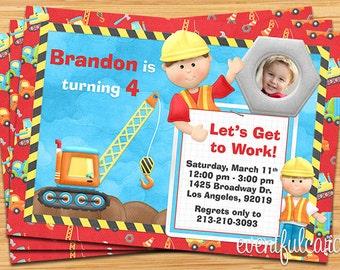 Construction Birthday Party Invitation - Digital - Printable