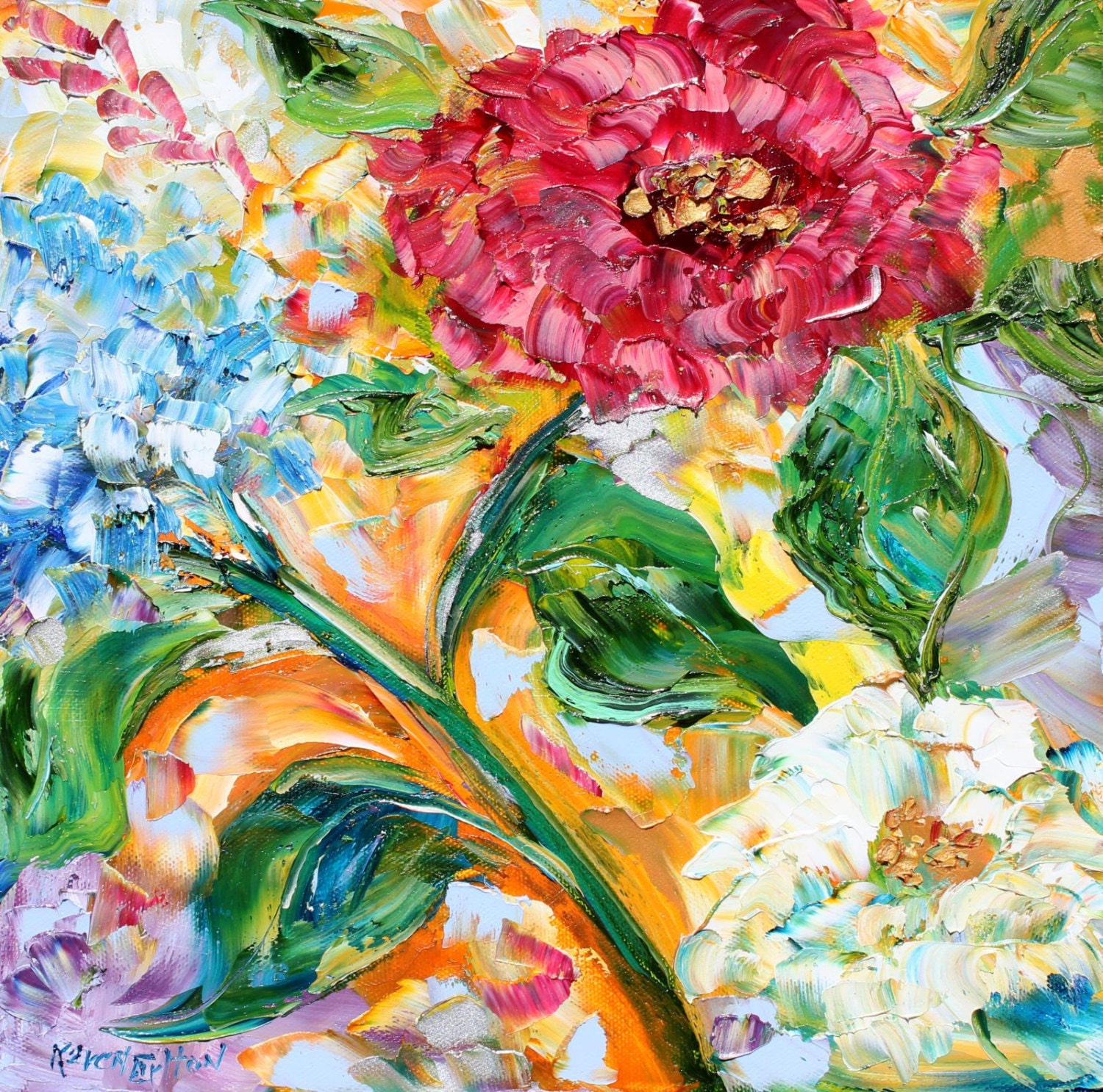 Original oil painting spring wild flower dance on canvas by for Spring canvas paintings