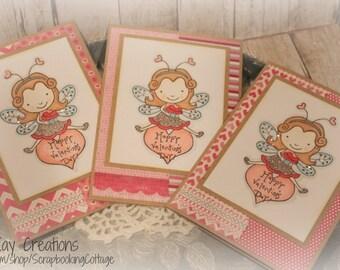 Sale-Valentines Cards Set of 3 Handmade Gift Set
