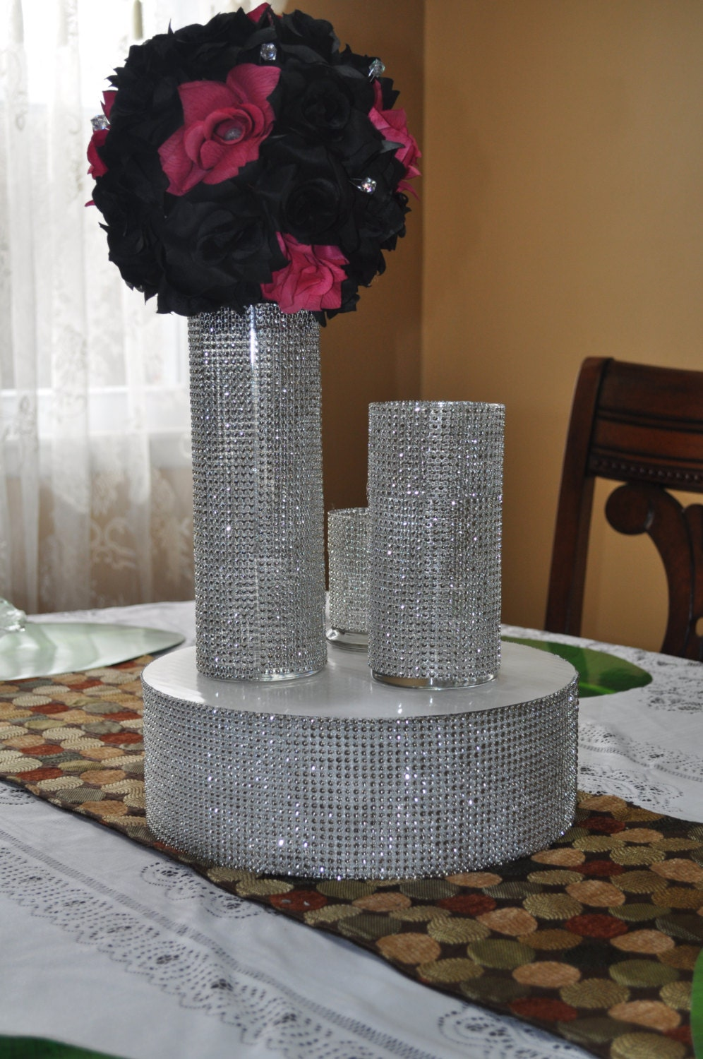 Rhinestone bling vase for wedding party centerpiece table