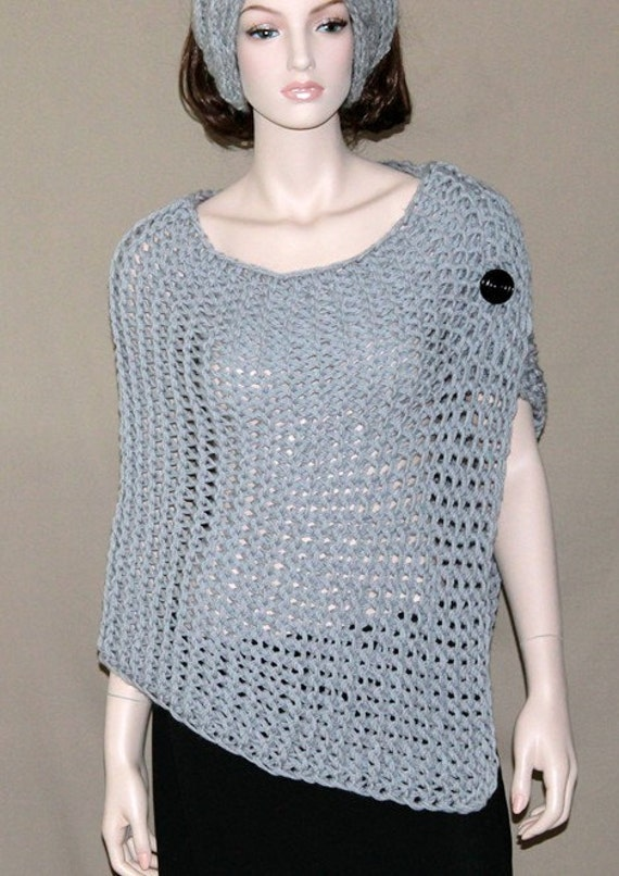 Knitting Pattern Poncho Wrap : Womens Hand Knit Chunky Poncho Capelet Wrap Textured
