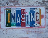 Personalized License Plate Sign - Funky Imagine Word Block - Red White Blue Custom Words Available - Recycled Vintage Art  Upcycled Artwork