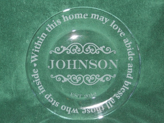Custom Etched Sandblasted Glass Plate Name Wedding Established