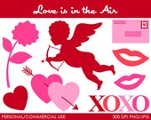 Love is in the Air Clipart - Digital Clip Art Graphics for Personal or Commercial Use