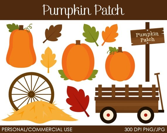 Pumpkin Patch Clipart - Digital Clip Art Graphics for Personal or Commercial Use