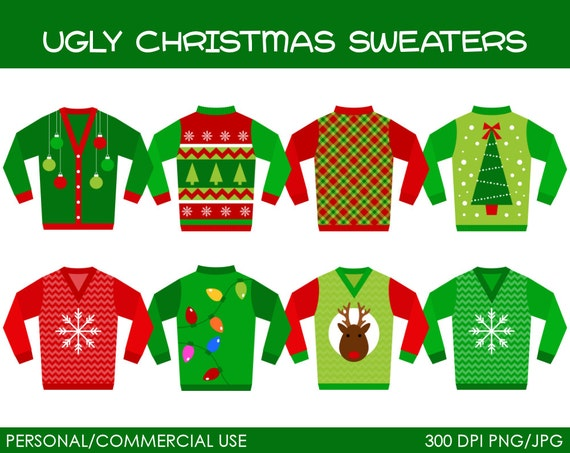 Ugly Christmas Sweaters Clipart - Digital Clip Art Graphics for    Ugly Christmas Sweaters Clipart