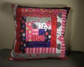 Hearts Log Cabin Quilted Pillow