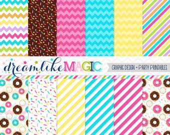 Sweet Donuts Digital Paper Pack for Personal or Commercial Use