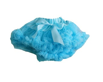 Blue Newborn Pettiskirt with free headband with flower