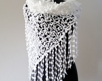 Available in Extra Large Size Pure White Color Wedding Lacy Stole Wrap Shawl Scarf with Long Fringes Available in Extra Large Sizes