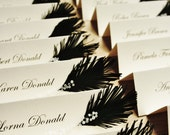 Personal Listing for Annelore | Wedding place cards Black & White | feather and glass beads decor