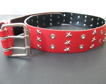 "Leather Belt - Retro Red Real Leather Wide Belt Size 34""-36""- Silver Star Studs and Eyelets"