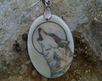 Wolf Totem Animal Mother of Pearl Amulet by Mickie Mueller