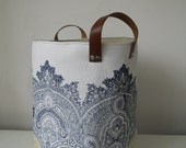 Large hand printed fabric storage bin storage Hamper in Baron with leather handles Made to Order