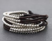 Silver Brown Beaded Wrap Bracelet Necklace