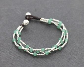 Jade Round Silver 3 Strand Bracelet