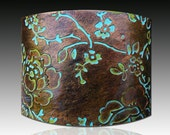 Rosebud polymer clay cuff bracelet copper and bronze with patina