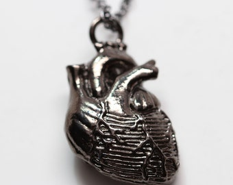 Black Anatomical Heart Necklace on Black Chain (Original Design, Made in NYC) buy online