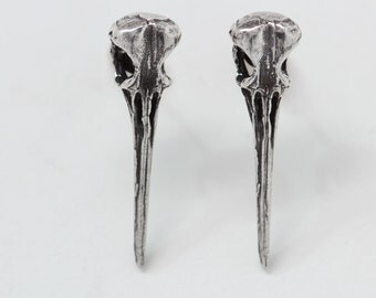 Hummingbird skull studs post earrings in sterling silver made in NYC