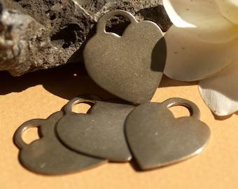 Nickel Silver Padlock Style Heart 25mm x 21mm Metal Blanks Shape Form for Metalworking Soldering Stamping Blank