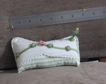 Handmade Pincushion from Vintage Pillowcase with Crochet Edging - Plan D