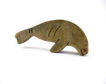 wooden manatee figurine, manatee wood toy, wooden waldorf toys