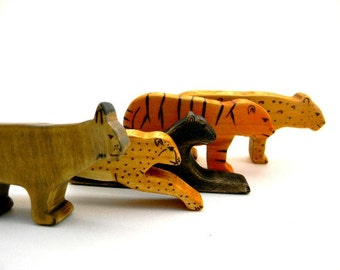 cat wooden toys, waldorf cat toys, tiger wood toy, waldorf animal toys, wooden waldorf toys, wood toys